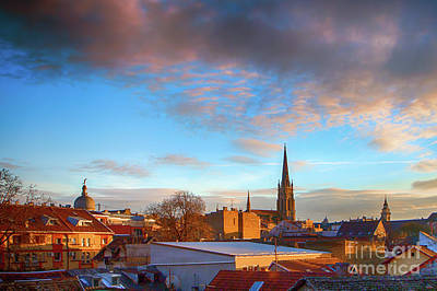 Photograph - Novi Sad Roofs Lit By The Setting Sun by Jivko Nakev