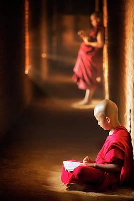 Novice Monk Reading Book Art Print