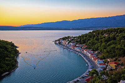 Photograph - Novigrad Dalmatinski Bay Panoramic Aerial View At Sunset by Brch Photography