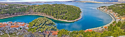 Photograph - Novigrad Dalmatinski Bay Panoramic Aerial View by Brch Photography