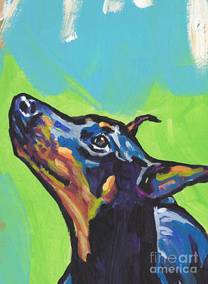 Doberman Pinscher Wall Art - Painting - Noving Like A Dobie by Lea S