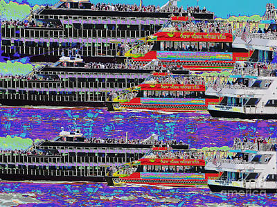 Painting - Novino Sale Festive Fineart Digital Painting Of Cruize Boats To Newyork Neighbouring Islands By Navi by Navin Joshi