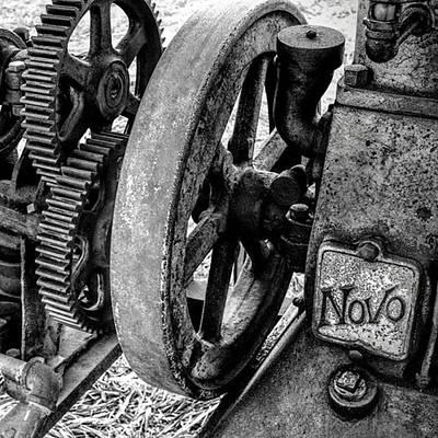 Gears Wall Art - Photograph - Novo Antique Gas Engine by Leah McPhail
