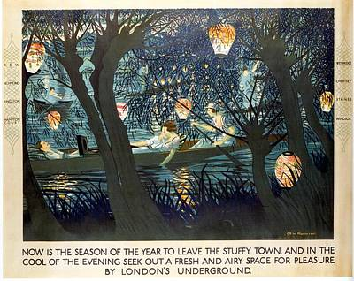 London Tube Mixed Media - Now Is The Season Of The Year To Leave The Stuffy Town - London Underground - Retro Travel Poster by Studio Grafiikka
