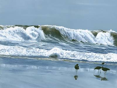 Painting - Npb Sand Pipers by Charles Parks