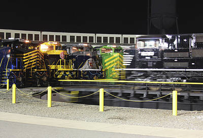 Photograph - Ns Heritage Locomotives Family Photographs 1030 Night 11 by Joseph C Hinson Photography