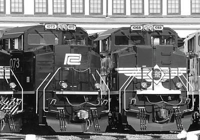 Photograph - Ns Heritage Locomotives Family Photographs 1068 Day 13 B W by Joseph C Hinson Photography