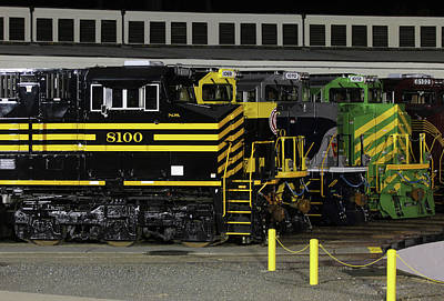Photograph - Ns Heritage Locomotives Family Photographs 8100 Night 12 by Joseph C Hinson Photography