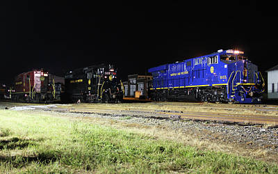 Photograph - Ns Heritage Locomotives Family Photographs 8103 Night 1 by Joseph C Hinson Photography