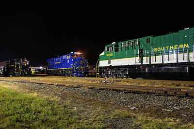 Photograph - Ns Heritage Locomotives Family Photographs 8103 Night 12 by Joseph C Hinson Photography