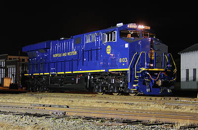 Photograph - Ns Heritage Locomotives Family Photographs 8103 Night 23 by Joseph C Hinson Photography