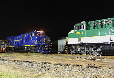 Photograph - Ns Heritage Locomotives Family Photographs 8103 Night 51 by Joseph C Hinson Photography
