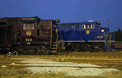 Photograph - Ns Heritage Locomotives Family Photographs 8103 Night 522 by Joseph C Hinson Photography