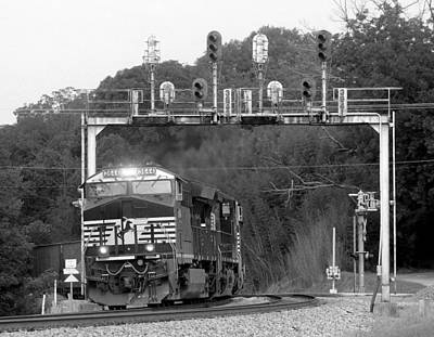 Photograph - Ns Train Under Lowell Signals Bw by Joseph C Hinson Photography