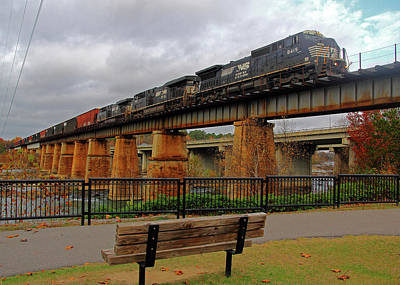 Photograph - Ns Wood Chip Train Over The River 3.0 by Joseph C Hinson Photography