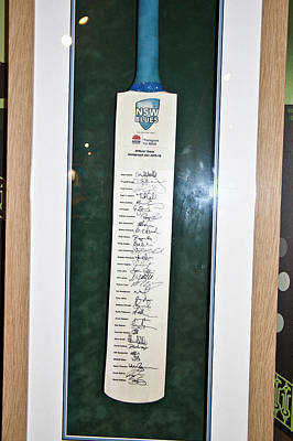Photograph - Nsw Blue Team Autograph Bat 2015/16 by Miroslava Jurcik