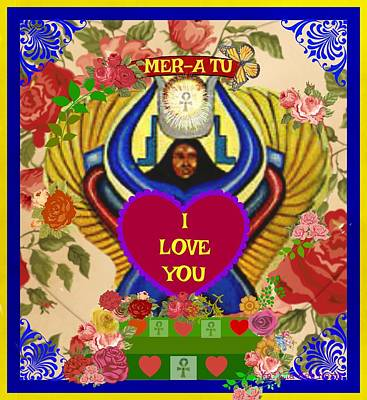 Mixed Media - Ntrt Het Heru Divine Love Mother Goddess by Kaitha Het Heru