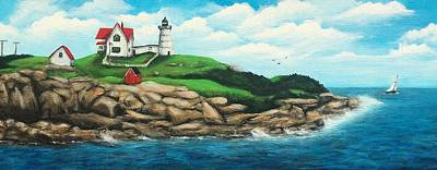 Nubble Lighthouse Painting - Nubble by Heather Gillmer