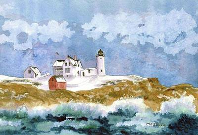 Cape Neddick Lighthouse Painting - Nubble In Winter by Roseann Meserve