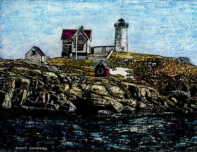 Painting - Nubble Light - York Maine by Robert Goudreau