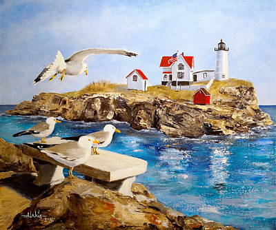 New England Lighthouse Painting - Nubble Light by Alan Lakin