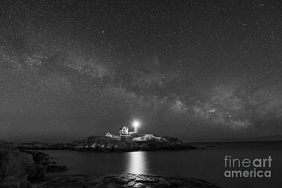Nubble Light At Night Bw Art Print