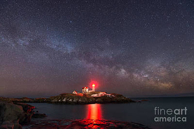 Nubble Light At Night Art Print