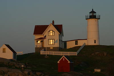 Nubble Light Painting - Nubble Light At Sunset by Imagery-at- Work