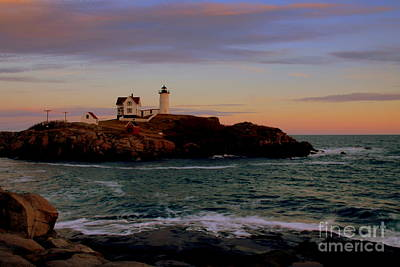 Photograph - Nubble Light At Sunset by Lennie Malvone