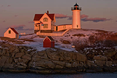 Nubble Light At Sunset Art Print