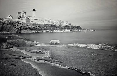 Photograph - Nubble Light Black And White by Luke Moore