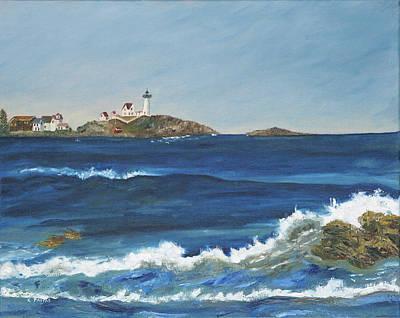 Nubble Lighthouse Painting - Nubble Light by Carlene Pappas