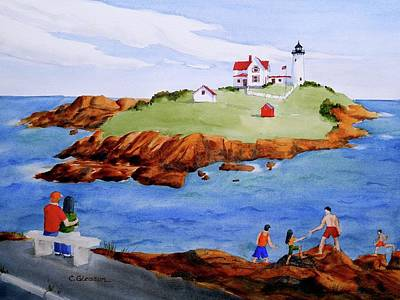 Nubble Light Painting - Nubble Light Family Day by Clifford Gleason