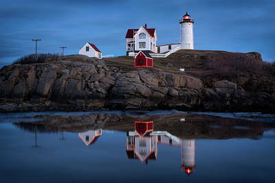 Lighthouse Maine Photograph - Nubble Light - Holiday Lights During Blue Hour by Jeff Bazinet