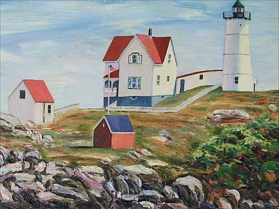 Lighthouse Painting - Nubble Light House Maine by Richard Nowak
