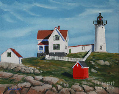 Maine Shore Painting - Nubble Light House by Paul Walsh