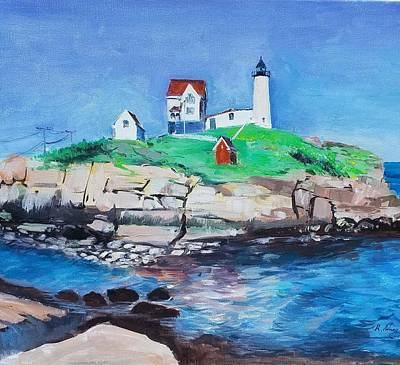 Painting - Nubble Light House by Rose Wang