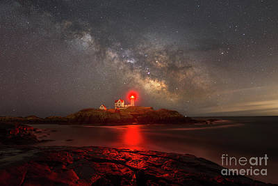 Eastcoast Lighthouses Photograph - Nubble Light Milky Way Rising by Michael Ver Sprill