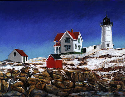 Maine Winter Painting - Nubble Light by Paul Gardner