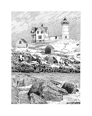 Nubble Lighthouse Drawing - Nubble Light by Philip LeVee