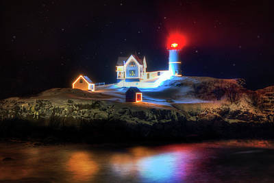 Photograph - Nubble Lighthouse At Night - Cape Neddick Maine by Joann Vitali