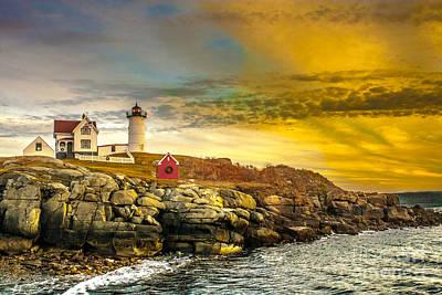 Nubble Lighthouse At Sunset Art Print by Ken Marsh