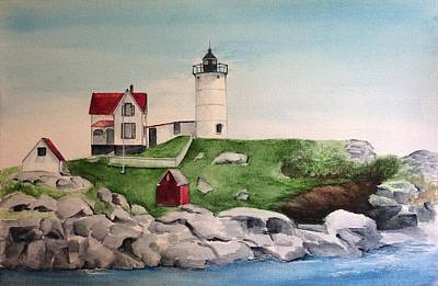Painting - Nubble Lighthouse by Ellen Canfield