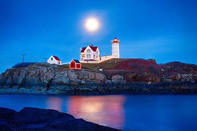 Photograph - Nubble Lighthouse Lit For The Season by Jeff Folger