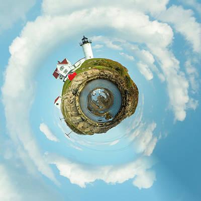 Photograph - Nubble Lighthouse Little Planet  by Emmanuel Panagiotakis