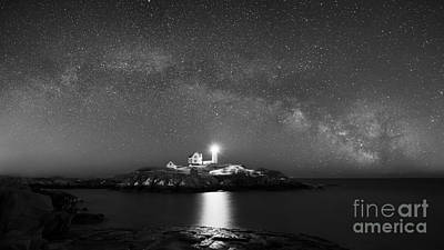 Nubble Lighthouse Milky Way Pano Bw Art Print