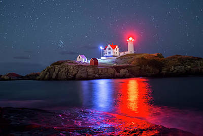 Nubble Lighthouse Reflection Art Print by Mircea Costina Photography