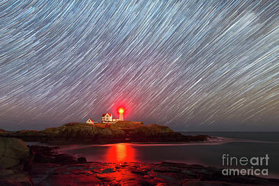 Photograph - Nubble Lighthouse Star Trails  by Michael Ver Sprill