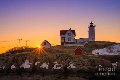 Surrealism Royalty-Free and Rights-Managed Images - Nubble Lighthouse Sunburst by Michael Ver Sprill