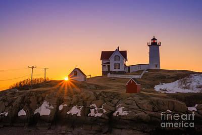 Michael Versprill Photograph - Nubble Lighthouse Sunburst by Michael Ver Sprill